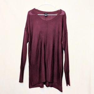 Rue 21, maroon long sweater top, size XL